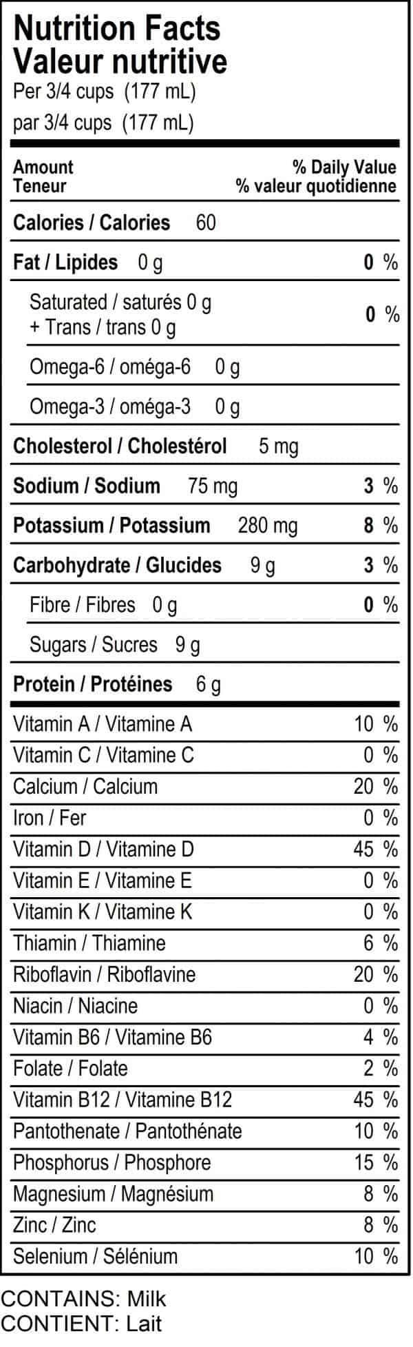 Nutrition Label - Skim Milk